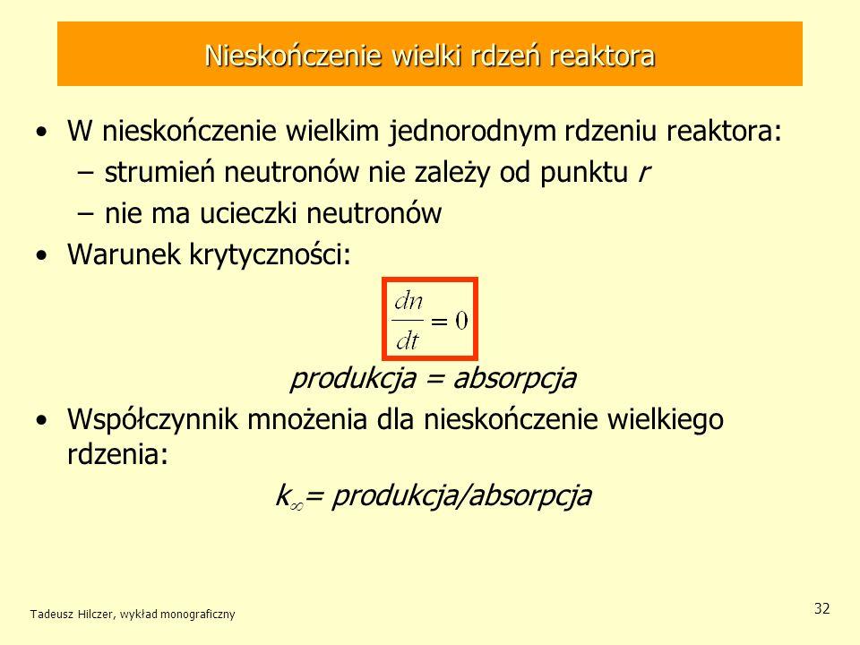 Tadeusz Hilczer, wykład monograficzny 32 Nieskończenie wielki rdzeń reaktora W nieskończenie wielkim jednorodnym rdzeniu reaktora: –strumień neutronów