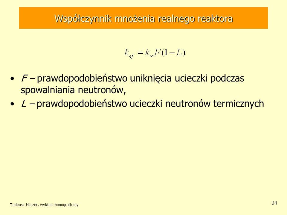 Tadeusz Hilczer, wykład monograficzny 34 F – prawdopodobieństwo uniknięcia ucieczki podczas spowalniania neutronów, L – prawdopodobieństwo ucieczki ne
