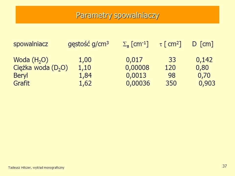 Tadeusz Hilczer, wykład monograficzny 37 spowalniacz gęstość g/cm 3 a [cm -1 ] [ cm 2 ] D [cm] Woda (H 2 O) 1,00 0,017 33 0,142 Ciężka woda (D 2 O) 1,