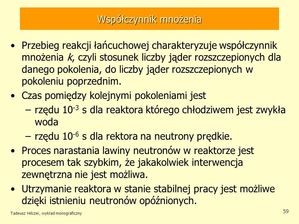 Tadeusz Hilczer, wykład monograficzny 59 Współczynnik mnożenia Przebieg reakcji łańcuchowej charakteryzuje współczynnik mnożenia k, czyli stosunek lic