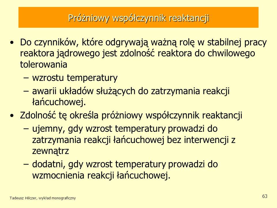 Tadeusz Hilczer, wykład monograficzny 63 Próżniowy współczynnik reaktancji Do czynników, które odgrywają ważną rolę w stabilnej pracy reaktora jądrowe