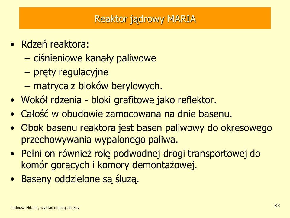 Tadeusz Hilczer, wykład monograficzny 83 Reaktor jądrowy MARIA Rdzeń reaktora: –ciśnieniowe kanały paliwowe –pręty regulacyjne –matryca z bloków beryl