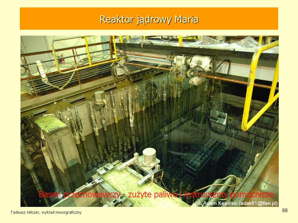 Tadeusz Hilczer, wykład monograficzny 88 Basen przechowawczy - zużyte paliwo i instrumenty pomocnicze Reaktor jądrowy MARIA Reaktor jądrowy Maria