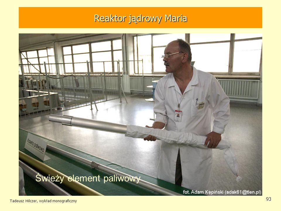 Tadeusz Hilczer, wykład monograficzny 93 Świeży element paliwowy Reaktor jądrowy MARIA Reaktor jądrowy Maria