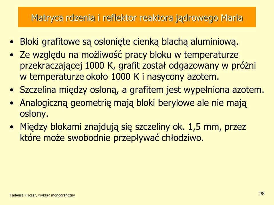 Tadeusz Hilczer, wykład monograficzny 98 Bloki grafitowe są osłonięte cienką blachą aluminiową. Ze względu na możliwość pracy bloku w temperaturze prz