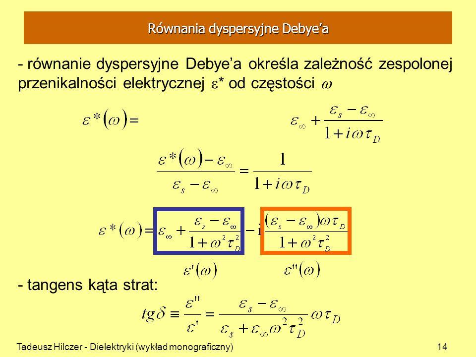 Tadeusz Hilczer - Dielektryki (wykład monograficzny)14 - równanie dyspersyjne Debyea określa zależność zespolonej przenikalności elektrycznej * od czę