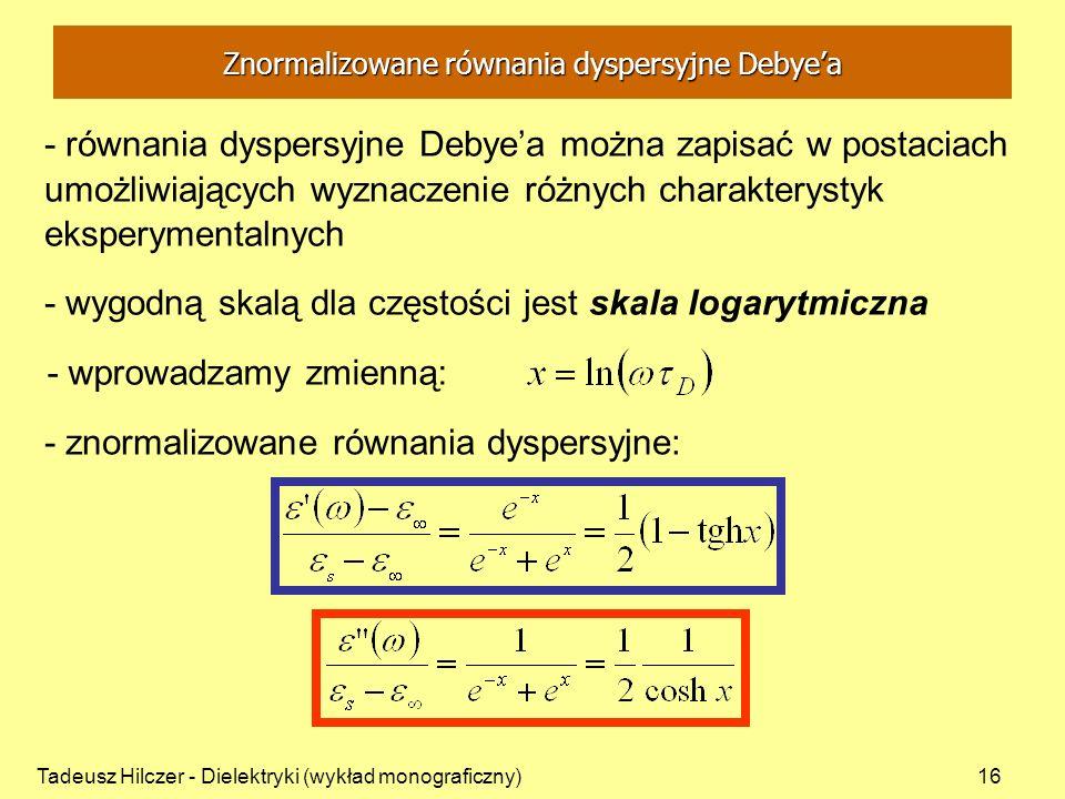 Tadeusz Hilczer - Dielektryki (wykład monograficzny)16 - równania dyspersyjne Debyea można zapisać w postaciach umożliwiających wyznaczenie różnych ch