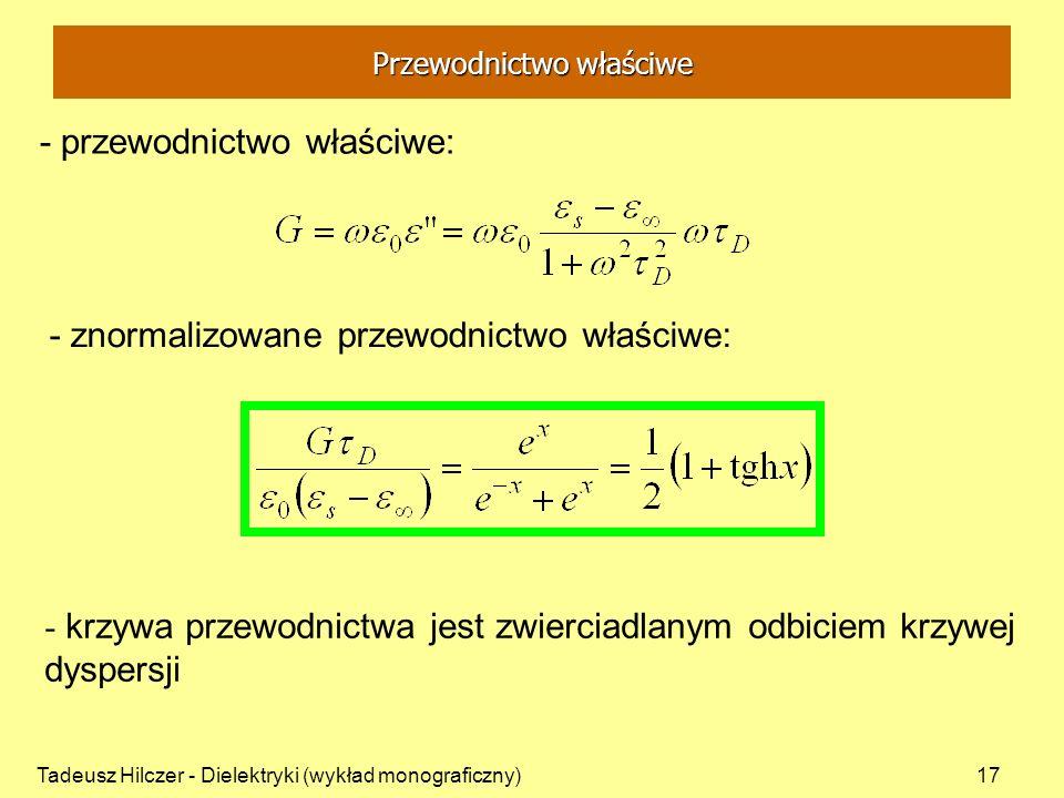 Tadeusz Hilczer - Dielektryki (wykład monograficzny)17 - przewodnictwo właściwe: - znormalizowane przewodnictwo właściwe: - krzywa przewodnictwa jest