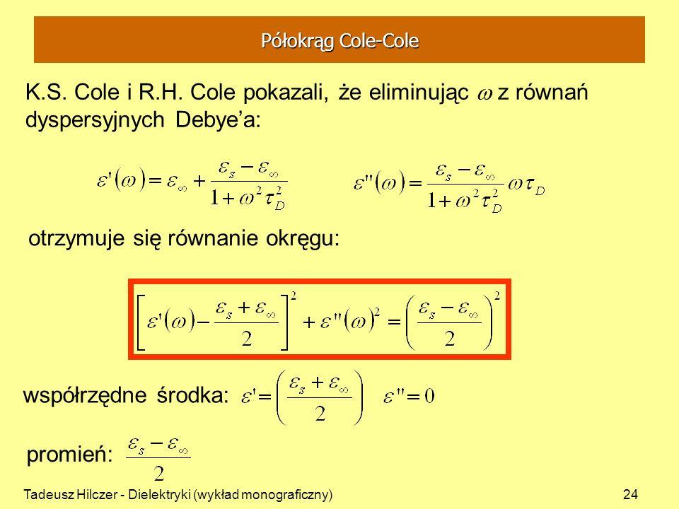 Tadeusz Hilczer - Dielektryki (wykład monograficzny)24 K.S. Cole i R.H. Cole pokazali, że eliminując z równań dyspersyjnych Debyea: otrzymuje się równ