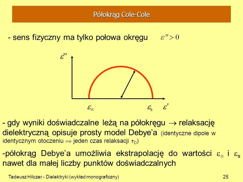 Tadeusz Hilczer - Dielektryki (wykład monograficzny)25 - sens fizyczny ma tylko połowa okręgu - gdy wyniki doświadczalne leżą na półokręgu relaksację