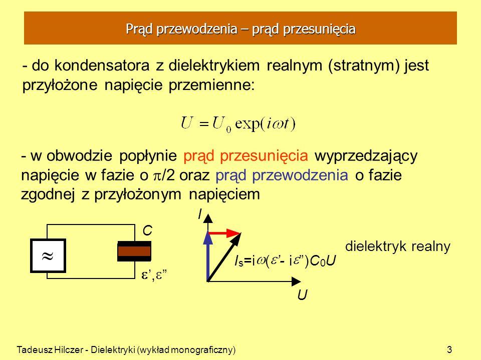 Tadeusz Hilczer - Dielektryki (wykład monograficzny)4 - straty energii w dielektryku związane są z różnymi procesami - przenikalność elektryczną wyraża wielkość zespolona: - składowa rzeczywista przenikalności elektrycznej - składowa urojoną przenikalności elektrycznej charakteryzuje straty dielektryczne - podatność elektryczną wyraża wielkość zespolona: Zespolona przenikalność elektryczna