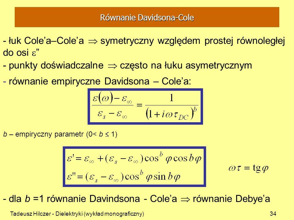 Tadeusz Hilczer - Dielektryki (wykład monograficzny)34 - łuk Colea–Colea symetryczny względem prostej równoległej do osi - dla b =1 równanie Davindson