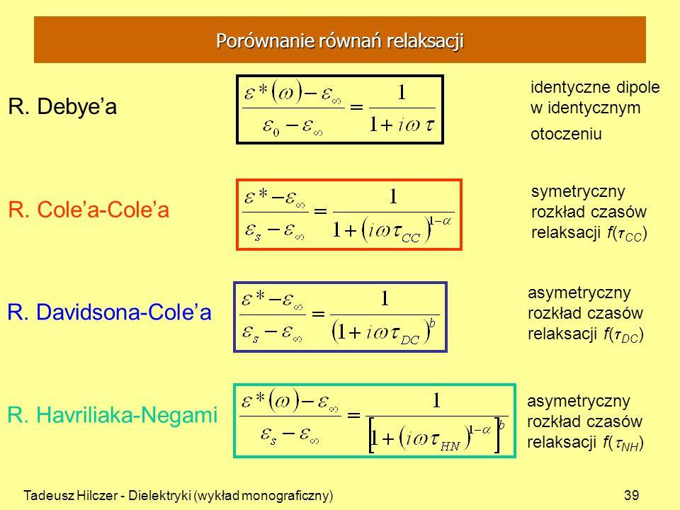 Tadeusz Hilczer - Dielektryki (wykład monograficzny)39 identyczne dipole w identycznym otoczeniu R. Debyea R. Colea-Colea symetryczny rozkład czasów r
