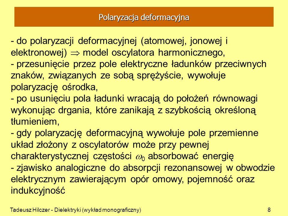 Tadeusz Hilczer - Dielektryki (wykład monograficzny)9 drganie oscylatora o masie m wychylonego z położenia równowagi o r: - współczynnik tłumienia 0 - częstość drgań oscylatora nietłumionego (k=0) - tłumienie powoduje rozszerzenie linii rezonansowej szerokość połówkowa Polaryzacja deformacyjna