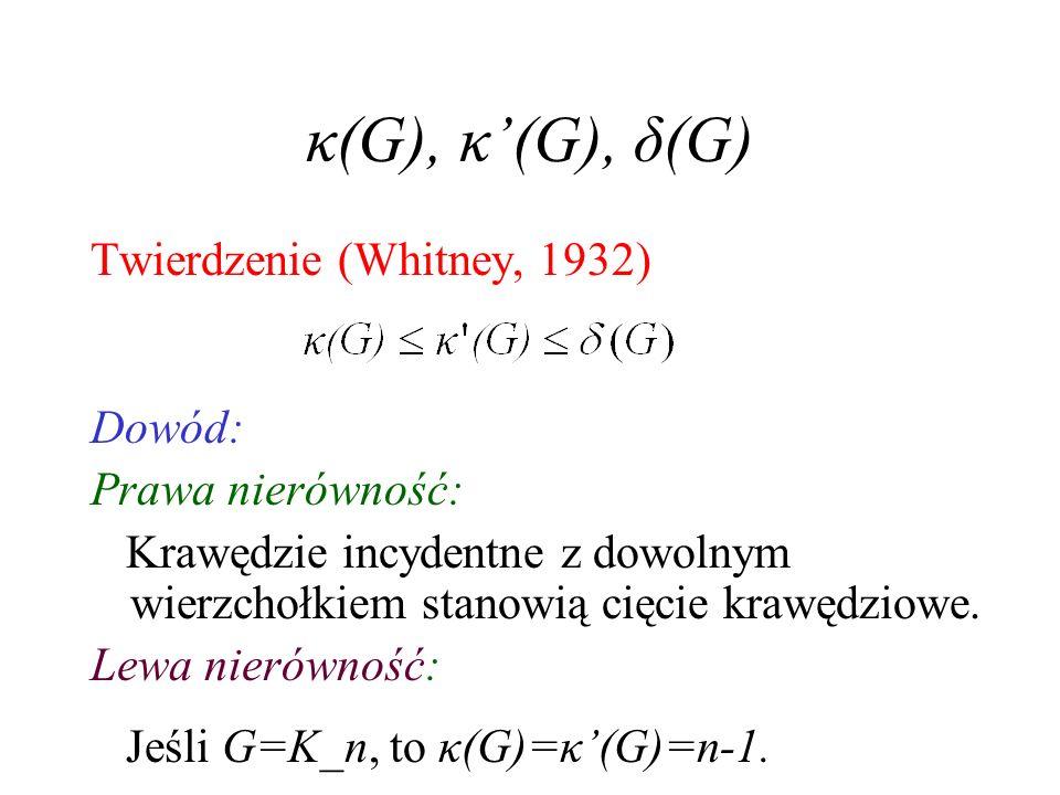 Krawędziowa k-spójność a RRD Jeśli G ma k RRD (rozłącznych, rozpiętych drzew), to G jest k-krawędziowo-spójny (oczywiste). Jeśli G jest 2k-krawędziowo