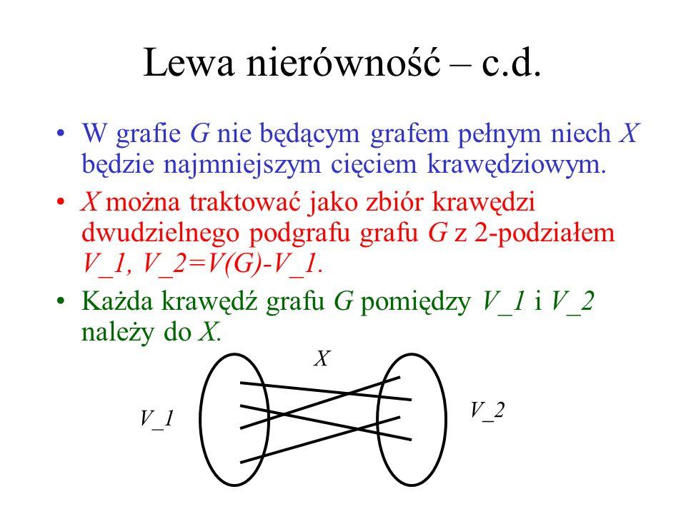 κ(G), κ(G), δ(G) Twierdzenie (Whitney, 1932) Dowód: Prawa nierówność: Krawędzie incydentne z dowolnym wierzchołkiem stanowią cięcie krawędziowe. Lewa