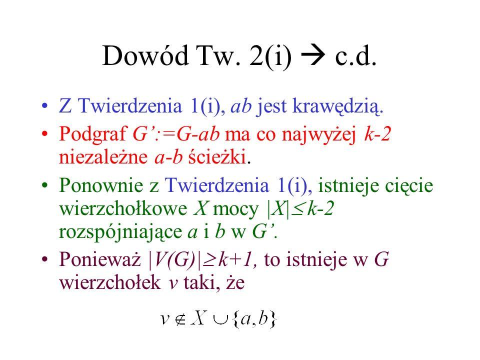 Dowód Tw. 2(i) Jeśli G ma k niezależnych ścieżek między każdą parą wierzchołków, to |V(G)|>k i G nie może mieć cięcia wierzchołkowego mocy mniejszej n