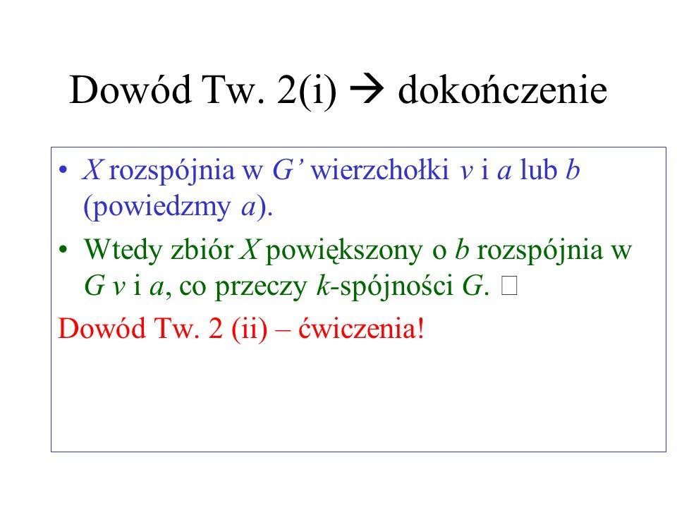 Dowód Tw. 2(i) c.d. Z Twierdzenia 1(i), ab jest krawędzią. Podgraf G:=G-ab ma co najwyżej k-2 niezależne a-b ścieżki. Ponownie z Twierdzenia 1(i), ist