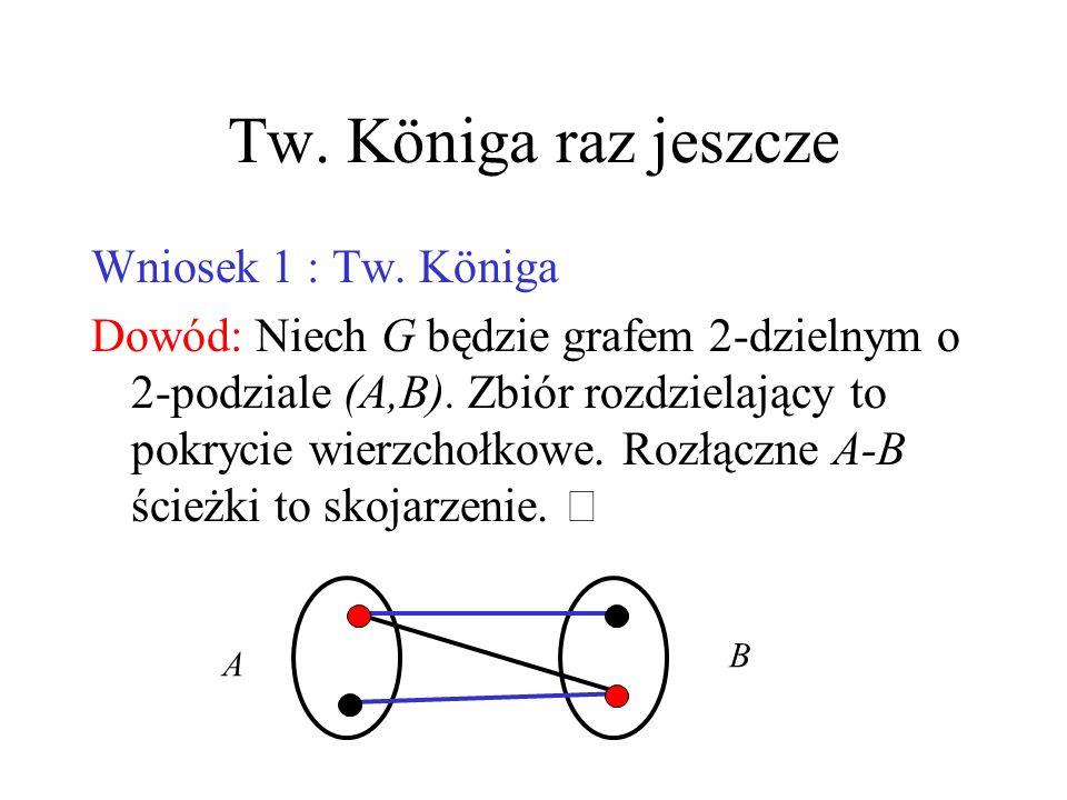 Dowód Tw. 1 (ćw.) (i)Zastosuj Tw. 3 do A=N(a) i B=N(b)  (ii) Zastosuj Tw. 3 do grafu krawędziowego L(G), A=E(a), B=E(b)  a b A B
