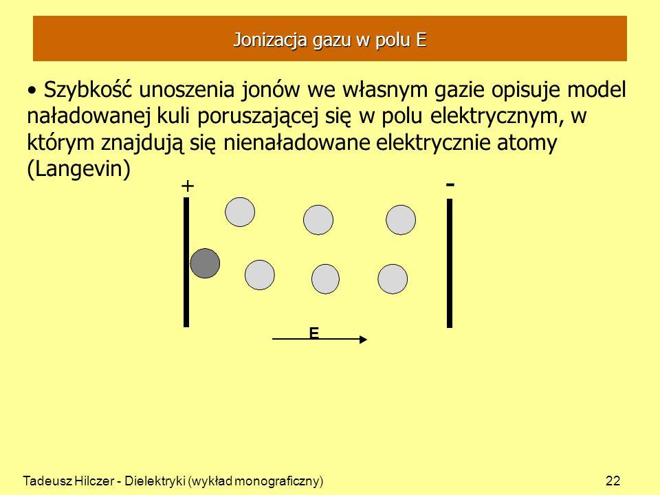 Tadeusz Hilczer - Dielektryki (wykład monograficzny)22 Szybkość unoszenia jonów we własnym gazie opisuje model naładowanej kuli poruszającej się w polu elektrycznym, w którym znajdują się nienaładowane elektrycznie atomy (Langevin) + - + E Jonizacja gazu w polu E