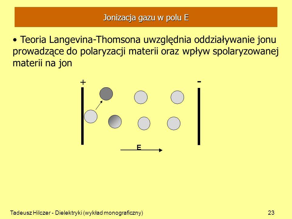Tadeusz Hilczer - Dielektryki (wykład monograficzny)23 Teoria Langevina-Thomsona uwzględnia oddziaływanie jonu prowadzące do polaryzacji materii oraz wpływ spolaryzowanej materii na jon + - + E Jonizacja gazu w polu E