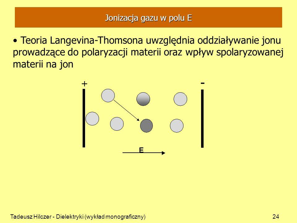 Tadeusz Hilczer - Dielektryki (wykład monograficzny)24 + - + E Jonizacja gazu w polu E Teoria Langevina-Thomsona uwzględnia oddziaływanie jonu prowadzące do polaryzacji materii oraz wpływ spolaryzowanej materii na jon