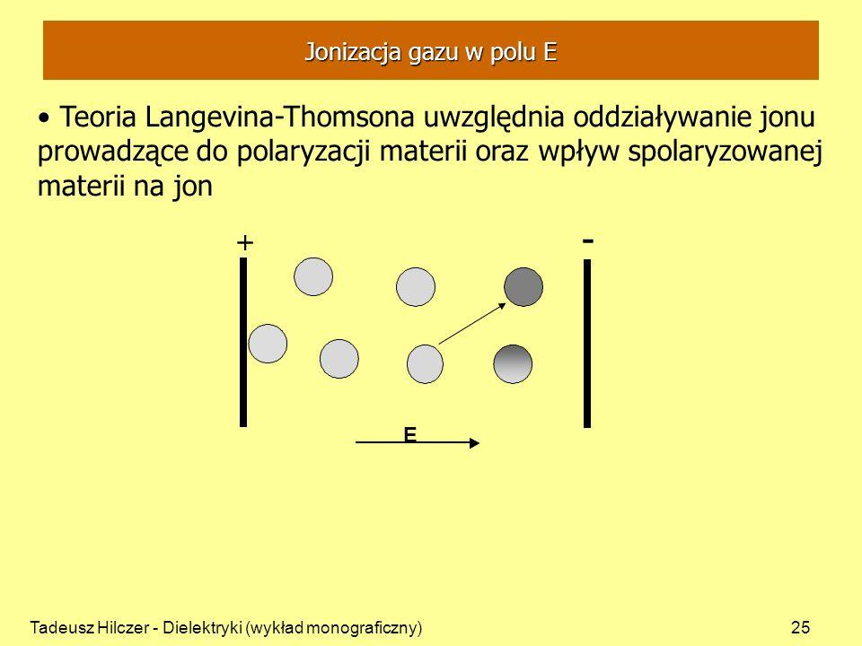 Tadeusz Hilczer - Dielektryki (wykład monograficzny)25 + - + E Jonizacja gazu w polu E Teoria Langevina-Thomsona uwzględnia oddziaływanie jonu prowadzące do polaryzacji materii oraz wpływ spolaryzowanej materii na jon