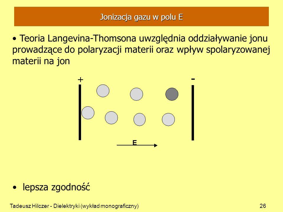 Tadeusz Hilczer - Dielektryki (wykład monograficzny)26 + - + E lepsza zgodność Jonizacja gazu w polu E Teoria Langevina-Thomsona uwzględnia oddziaływanie jonu prowadzące do polaryzacji materii oraz wpływ spolaryzowanej materii na jon