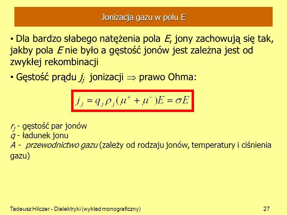 Tadeusz Hilczer - Dielektryki (wykład monograficzny)27 Dla bardzo słabego natężenia pola E, jony zachowują się tak, jakby pola E nie było a gęstość jonów jest zależna jest od zwykłej rekombinacji Gęstość prądu j j jonizacji prawo Ohma: r j - gęstość par jonów q - ładunek jonu A - przewodnictwo gazu (zależy od rodzaju jonów, temperatury i ciśnienia gazu) Jonizacja gazu w polu E