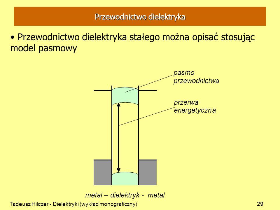 Tadeusz Hilczer - Dielektryki (wykład monograficzny)29 Przewodnictwo dielektryka stałego można opisać stosując model pasmowy Przewodnictwo dielektryka przerwa energetyczna pasmo przewodnictwa metal– dielektryk - metal