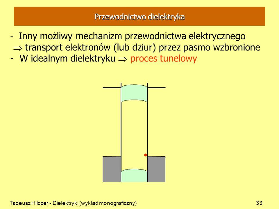 Tadeusz Hilczer - Dielektryki (wykład monograficzny)33 Przewodnictwo dielektryka - Inny możliwy mechanizm przewodnictwa elektrycznego transport elektronów (lub dziur) przez pasmo wzbronione - W idealnym dielektryku proces tunelowy