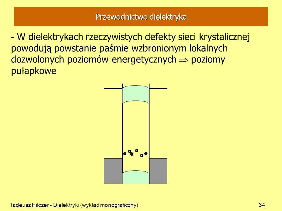 Tadeusz Hilczer - Dielektryki (wykład monograficzny)34 - W dielektrykach rzeczywistych defekty sieci krystalicznej powodują powstanie paśmie wzbronionym lokalnych dozwolonych poziomów energetycznych poziomy pułapkowe Przewodnictwo dielektryka