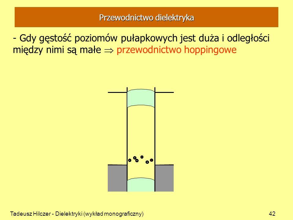 Tadeusz Hilczer - Dielektryki (wykład monograficzny)42 Przewodnictwo dielektryka - Gdy gęstość poziomów pułapkowych jest duża i odległości między nimi są małe przewodnictwo hoppingowe