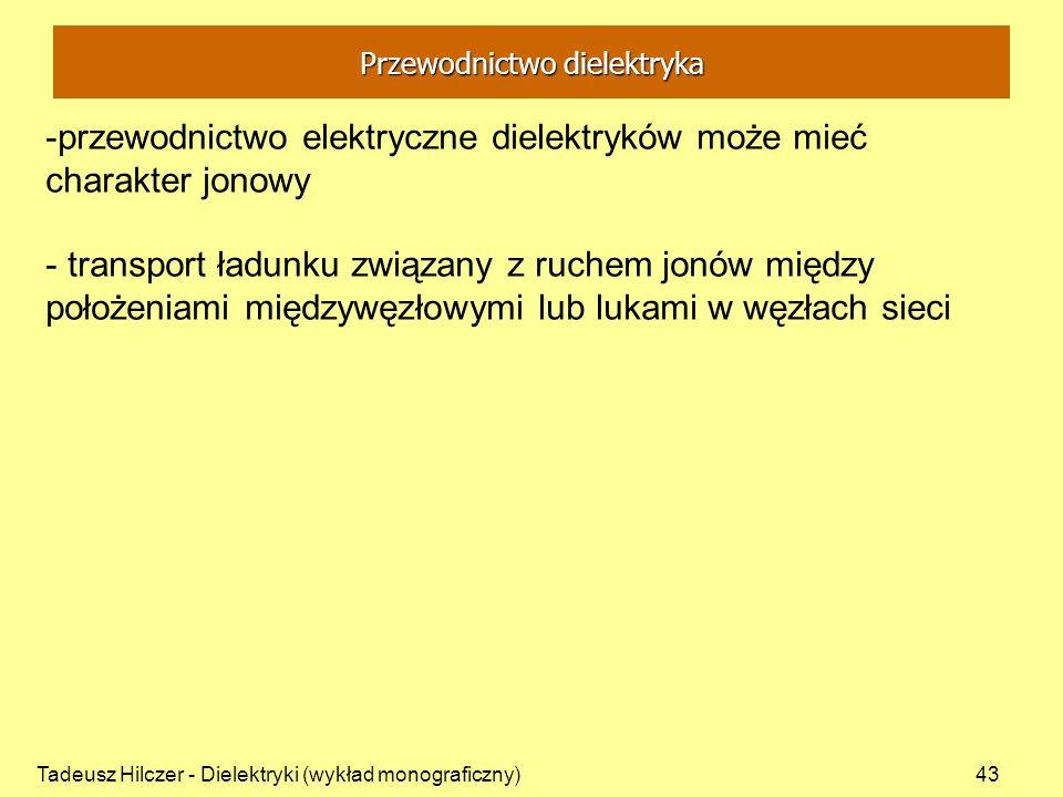 Tadeusz Hilczer - Dielektryki (wykład monograficzny)43 -przewodnictwo elektryczne dielektryków może mieć charakter jonowy - transport ładunku związany z ruchem jonów między położeniami międzywęzłowymi lub lukami w węzłach sieci Przewodnictwo dielektryka
