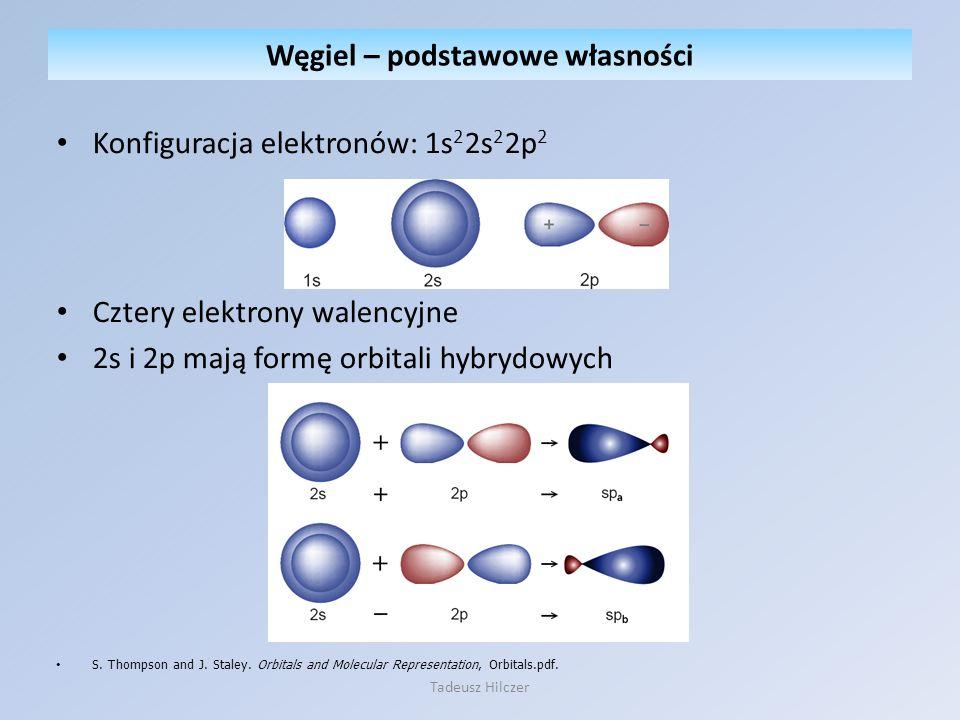 Konfiguracja elektronów: 1s 2 2s 2 2p 2 Cztery elektrony walencyjne 2s i 2p mają formę orbitali hybrydowych S. Thompson and J. Staley. Orbitals and Mo