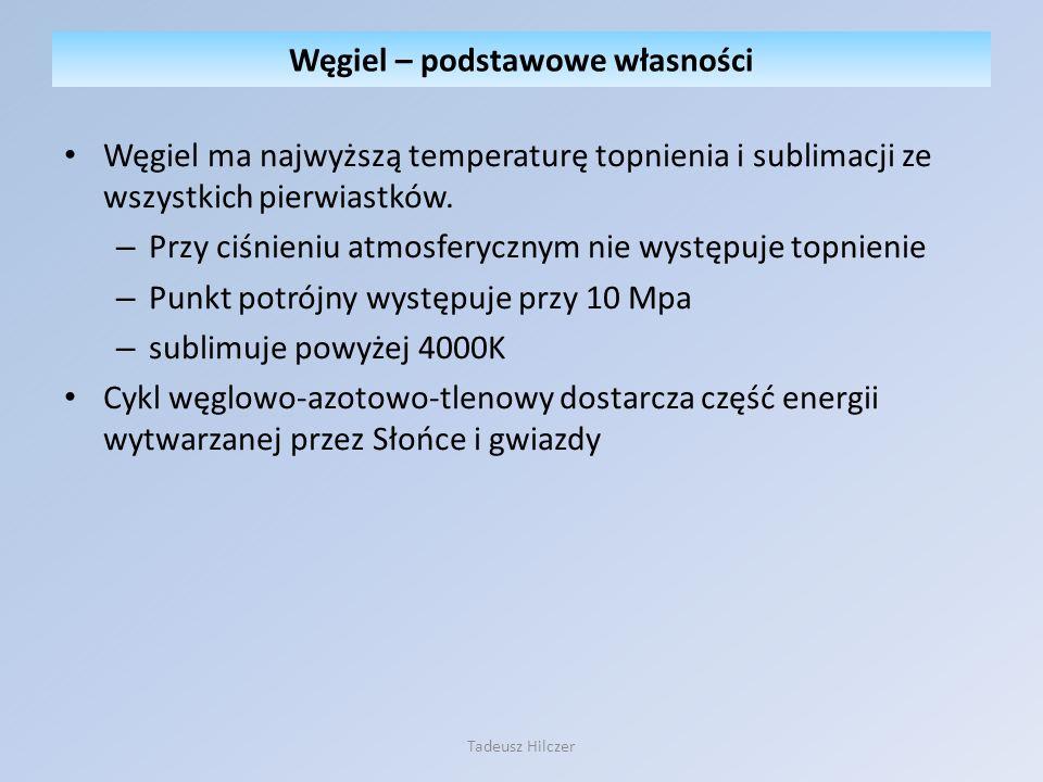 Węgiel ma najwyższą temperaturę topnienia i sublimacji ze wszystkich pierwiastków. – Przy ciśnieniu atmosferycznym nie występuje topnienie – Punkt pot