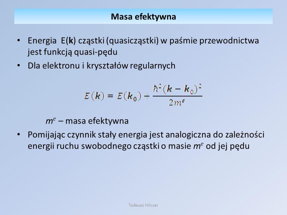 Energia E(k) cząstki (quasicząstki) w paśmie przewodnictwa jest funkcją quasi-pędu Dla elektronu i kryształów regularnych m e – masa efektywna Pomijaj