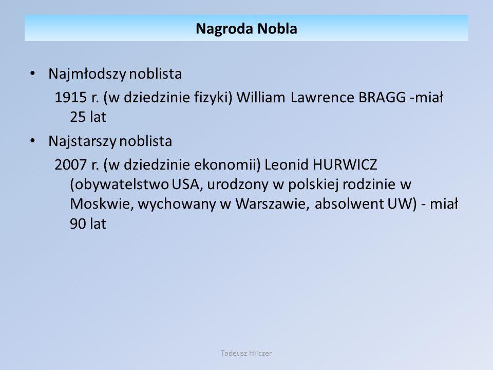 Najmłodszy noblista 1915 r. (w dziedzinie fizyki) William Lawrence BRAGG -miał 25 lat Najstarszy noblista 2007 r. (w dziedzinie ekonomii) Leonid HURWI