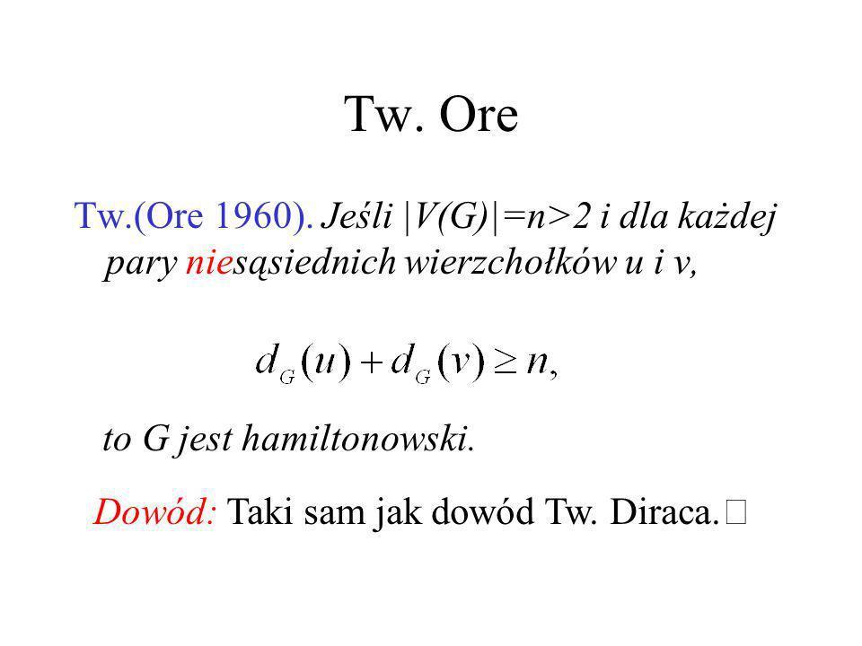 Dowód Tw. Diraca – dokończenie Zatem w G istnieje cykl C taki, że V(C)=V(P). Jeśli C nie jest cyklem Hamiltona, to na podstawie spójności grafu G, mus