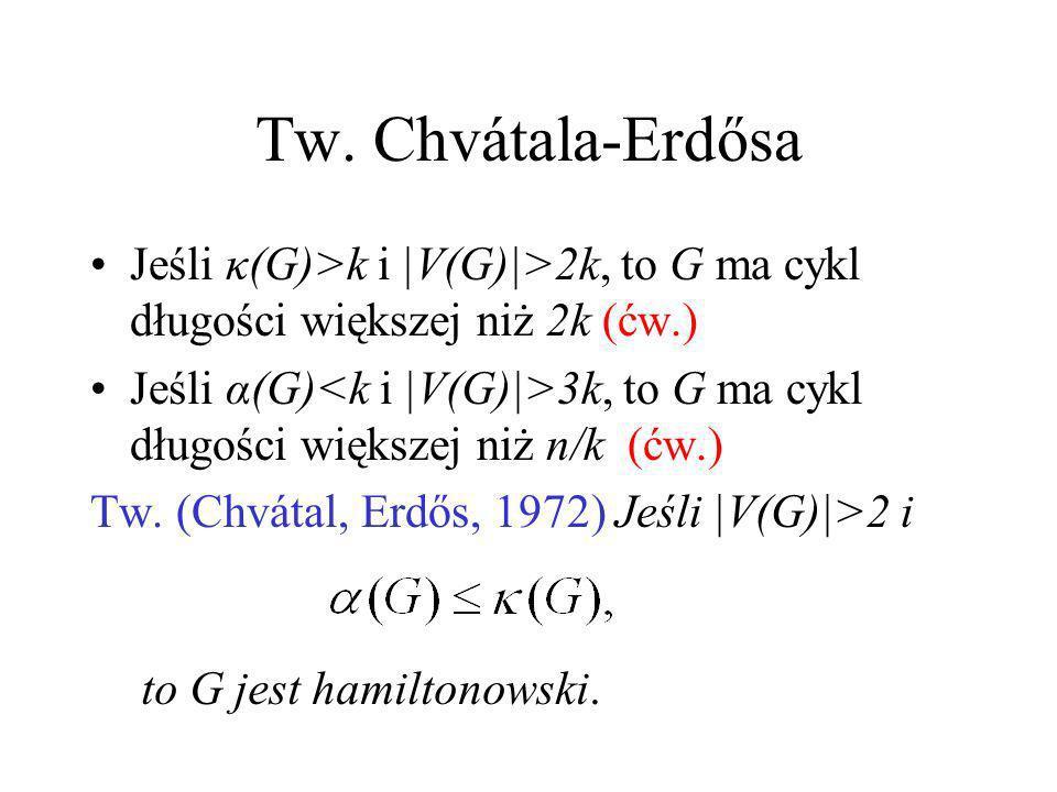 Tw. Ore Tw.(Ore 1960). Jeśli |V(G)|=n>2 i dla każdej pary niesąsiednich wierzchołków u i v, to G jest hamiltonowski. Dowód: Taki sam jak dowód Tw. Dir