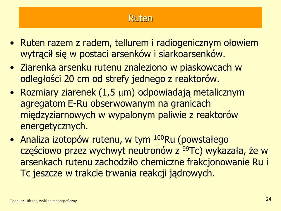 Tadeusz Hilczer, wykład monograficzny 24 Ruten Ruten razem z radem, tellurem i radiogenicznym ołowiem wytrącił się w postaci arsenków i siarkoarsenków