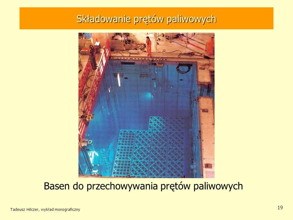 Tadeusz Hilczer, wykład monograficzny 20 Składowanie prętów paliwowych Pręty paliwowe po wstępnym schłodzeniu w basenie w elektrowni jądrowej załadowane do pojemników transportowych przenosi się na składowiska pośrednie.