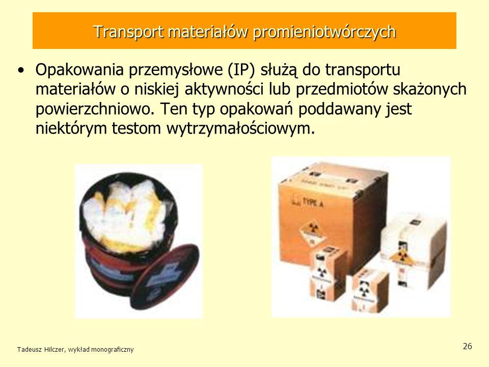 Tadeusz Hilczer, wykład monograficzny 27 Transport materiałów promieniotwórczych Opakowania tzw.