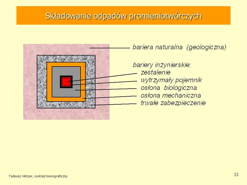 Tadeusz Hilczer, wykład monograficzny 34 Składowowiska geologiczne Analogami kompleksowymi obejmującymi kilka procesów i odnoszącymi się do całego składowiska są niektóre złoża uranu.