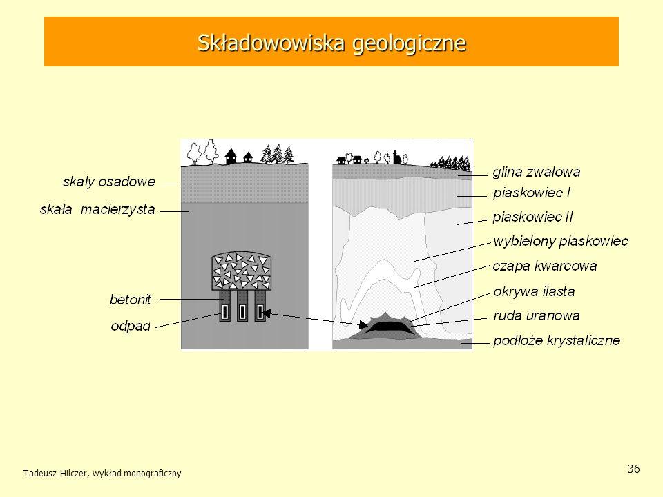 Tadeusz Hilczer, wykład monograficzny 37 Składowanie odpadów promieniotwórczych W wyeksploatowanych kopalniach np.
