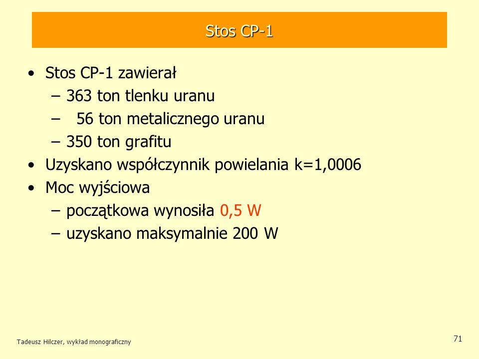 Tadeusz Hilczer, wykład monograficzny 71 Stos CP-1 Stos CP-1 zawierał –363 ton tlenku uranu – 56 ton metalicznego uranu –350 ton grafitu Uzyskano wspó