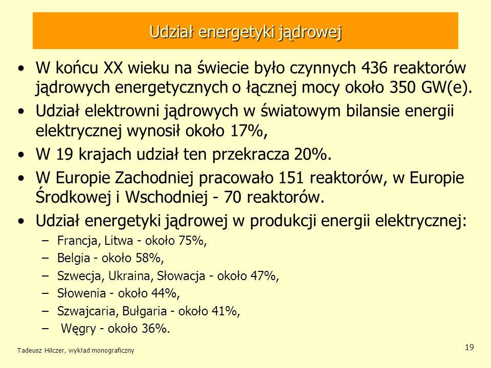 Tadeusz Hilczer, wykład monograficzny 19 Udział energetyki jądrowej W końcu XX wieku na świecie było czynnych 436 reaktorów jądrowych energetycznych o