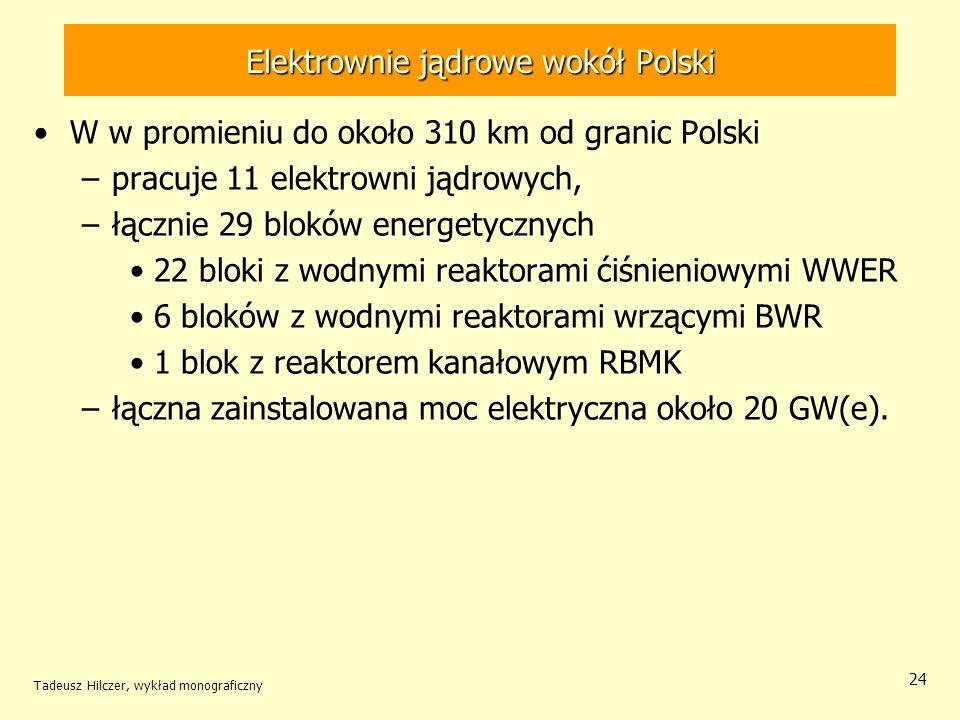 Tadeusz Hilczer, wykład monograficzny 24 Elektrownie jądrowe wokół Polski W w promieniu do około 310 km od granic Polski –pracuje 11 elektrowni jądrow