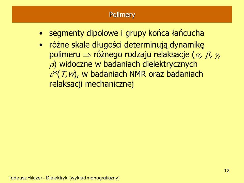 Tadeusz Hilczer - Dielektryki (wykład monograficzny) 12 segmenty dipolowe i grupy końca łańcucha różne skale długości determinują dynamikę polimeru ró