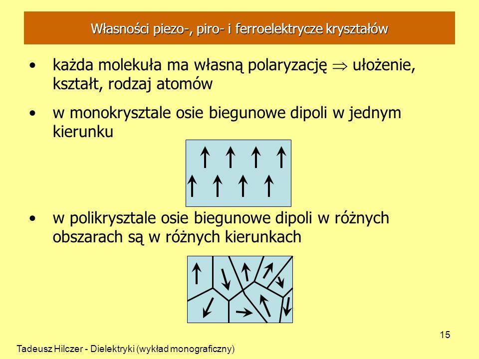 Tadeusz Hilczer - Dielektryki (wykład monograficzny) 15 Własności piezo-, piro- i ferroelektrycze kryształów każda molekuła ma własną polaryzację ułoż